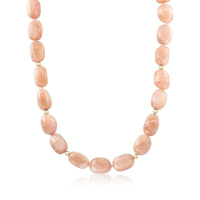 Peach Moonstone Bead Necklace with 14kt Gold, , default