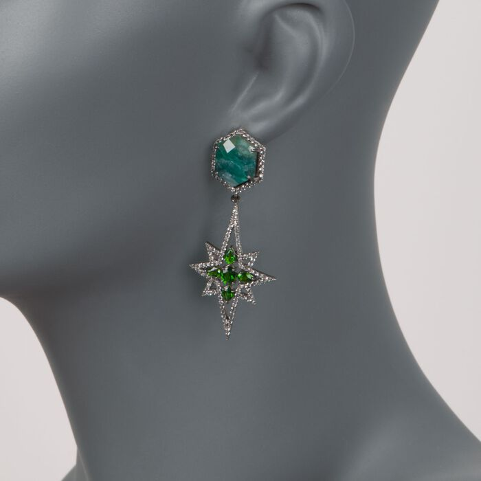 20.00 ct. t.w. Green Corundum and 2.40 ct. t.w. Green Diopside Starburst Earrings with White Zircon in Sterling Silver