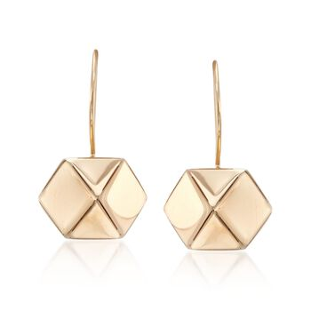 14kt Yellow Gold Hexagon Drop Earrings , , default