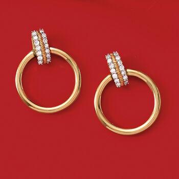 .15 ct. t.w. Diamond Circle Drop Earrings in 14kt Yellow Gold