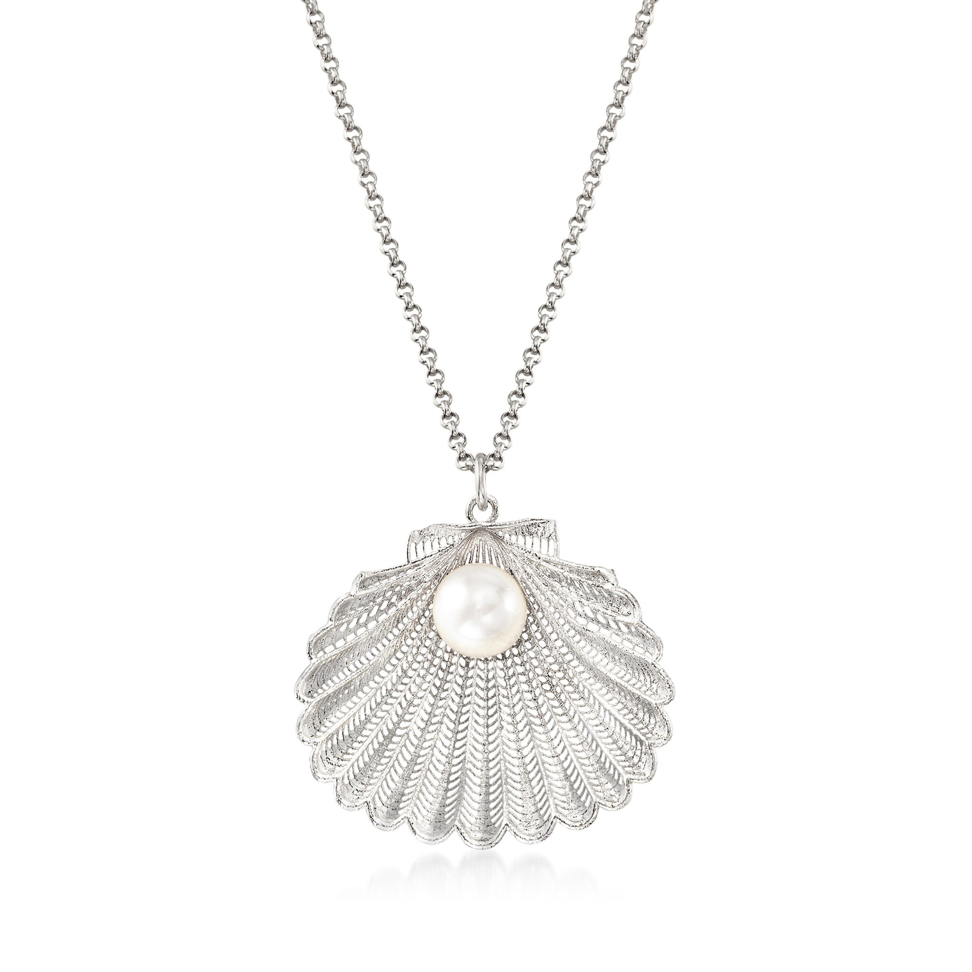 Drop-shape Pink Cultured Pearl Pendant 16 or 18 Pendant Necklace with Silver Matching Chain