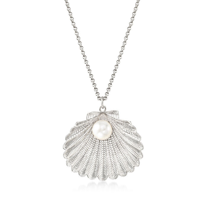 """Italian Cultured Pearl Seashell Pendant Necklace in Sterling Silver. 18"""", , default"""