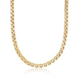14kt Yellow Gold Polished Triple-Link Necklace, , default