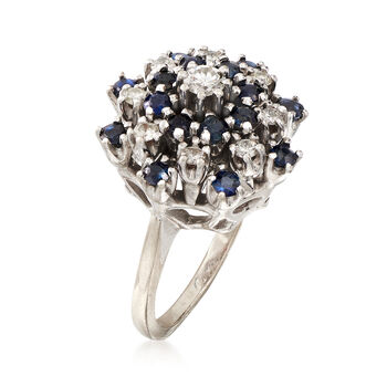 C. 1970 Vintage Sapphire and Diamond Cluster Ring in 14kt Yellow Gold. Size 5.25, , default