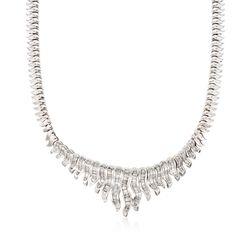 "C. 1990 Vintage 4.50 ct. t.w. Diamond Bib Necklace in 14kt White Gold. 17"", , default"