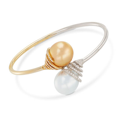 13.8mm Golden and White Cultured South Sea Pearl and .72 ct. t.w. Diamond Bypass Cuff Bracelet in 18kt Two-Tone Gold, , default