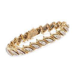 "C. 1970 Vintage 2.00 ct. t.w. Diamond Leaves Bracelet in 18kt Two-Tone Gold. 7.25"", , default"