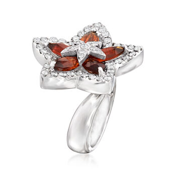 C. 1990 Vintage 2.20 ct. t.w. Citrine and .78 ct. t.w. Diamond Flower Ring in 18kt White Gold. Size 5.5