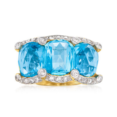 C. 1980 Vintage 10.50 ct. t.w. Sky Blue Topaz and .26 ct. t.w. Diamond Ring in 14kt Yellow Gold