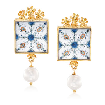 Italian 9mm Cultured Pearl Majolica Tile Drop Earrings in 18kt Gold Over Sterling, , default