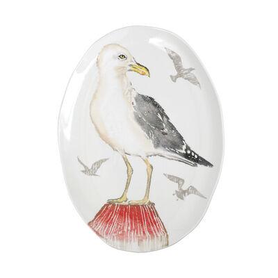 "Vietri ""Pesca"" Seagull Medium Oval Platter from Italy"