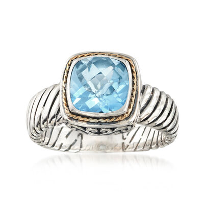 Balinese 2.30 Carat Sky Blue Topaz Ring in Two-Tone Sterling Silver, , default