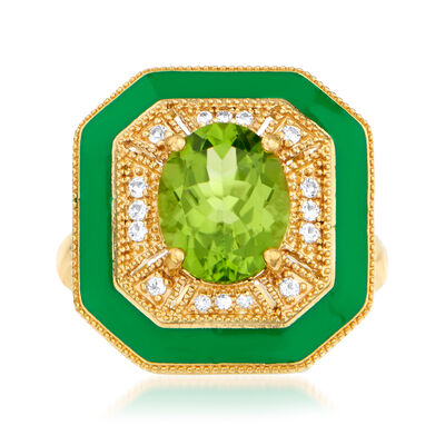 2.40 Carat Peridot and .10 ct. t.w. White Topaz Ring with Green Enamel in 18kt Gold Over Sterling