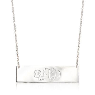 Sterling Silver Cutout Monogram Bar Necklace, , default