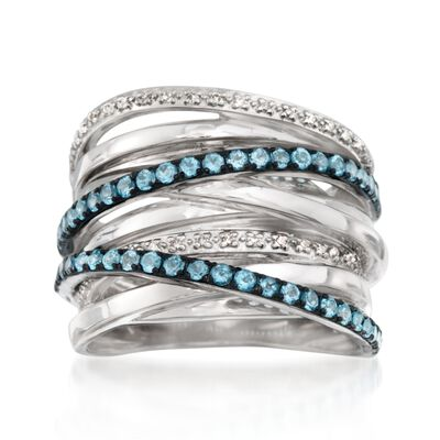.80 ct. t.w. Blue Topaz and .11 ct. t.w. Diamond Highway Ring in Sterling Silver, , default