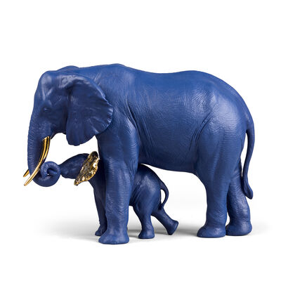 Lladro Blue and Gold Porcelain Elephant Figurine: Leading the Way, , default