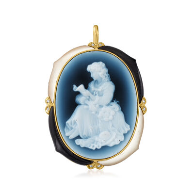 C. 1970 Vintage Blue Agate, Onyx and Mother-Of-Pearl Pin/Pendant with Diamond Accents in 18kt Yellow Gold
