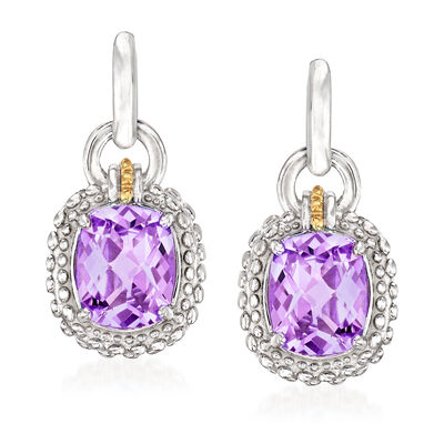 "Phillip Gavriel ""Popcorn"" 4.80 ct. t.w. Amethyst Drop Earrings in Sterling Silver with 18kt Yellow Gold, , default"
