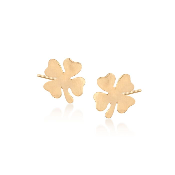 18kt Yellow Gold Four-Leaf Clover Stud Earrings, , default