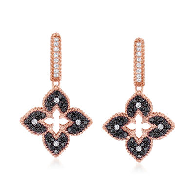 "Roberto Coin ""Venetian Princess"" .83 ct. t.w. Black and White Diamond Flower Drop Earrings in 18kt Rose Gold, , default"