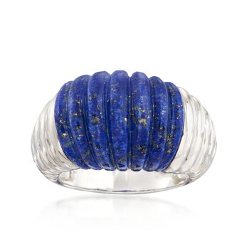 Carved Lapis Ribbed Ring in Sterling Silver, , default