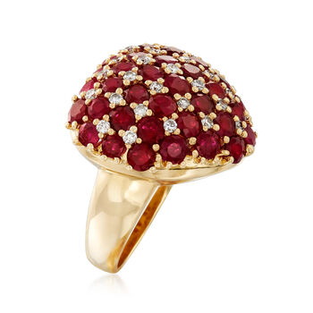C. 1990 Vintage 5.97 ct. t.w. Ruby and .43 ct. t.w. Diamond Heart Ring in 18kt Yellow Gold. Size 6.5, , default