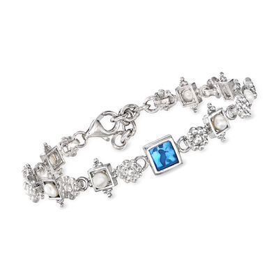Italian Blue Venetian Glass, Mother-Of-Pearl and Cultured Pearl Flower Bracelet in Sterling Silver