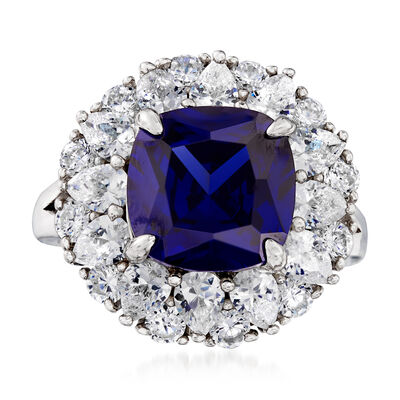 5.50 ct. t.w. Simulated Sapphire and 2.50 ct. t.w. CZ Ring in Sterling Silver, , default