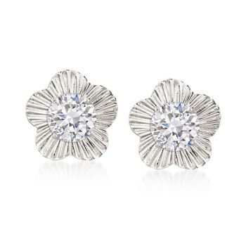 14kt White Gold Flower Earring Jackets, , default
