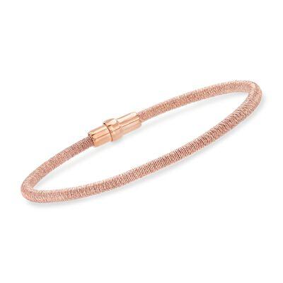 Italian 18kt Rose Gold Over Sterling Silver Mesh Bracelet