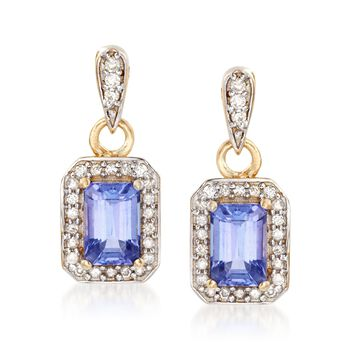 1.10 ct. t.w. Tanzanite and .25 ct. t.w. Diamond Drop Earrings in 14kt Yellow Gold, , default