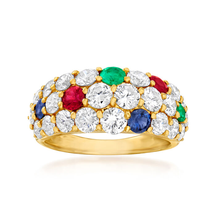 C. 1980 Vintage 2.20 ct. t.w. Diamond and .82 ct. t.w. Multi-Gemstone Ring in 18kt Yellow Gold. Size 5.75, , default