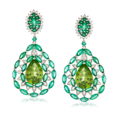 14.45 ct. t.w. Multi-Gemstone and .73 ct. t.w. Diamond Drop Earrings in 18kt White Gold