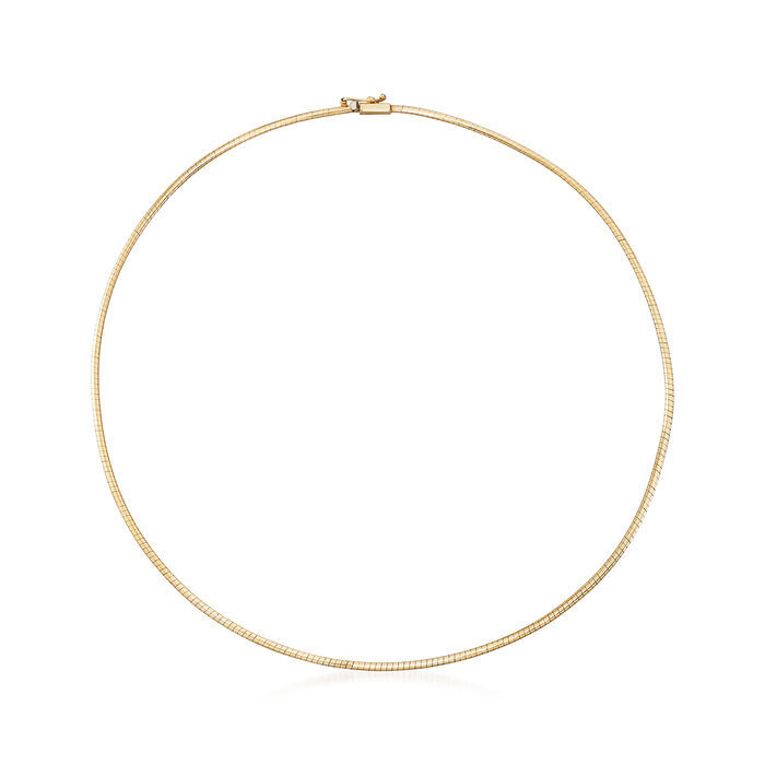Italian 2mm 14kt Yellow Gold Omega Necklace, , default