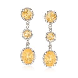 8.40 ct. t.w. Citrine and .10 ct. t.w. Diamond Drop Earrings in Sterling Silver, , default