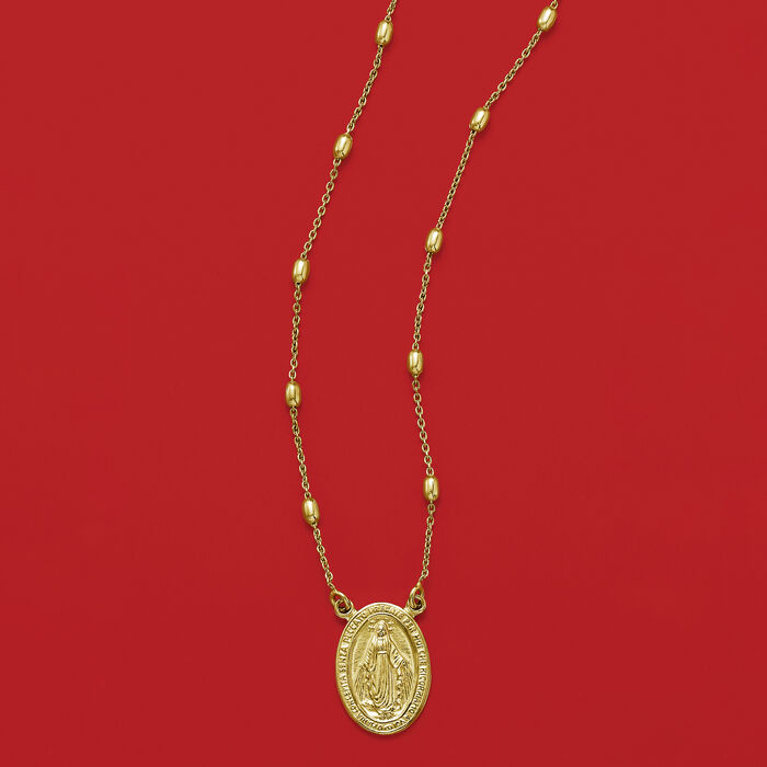 Italian 18kt Gold Over Sterling Miraculous Medal Beaded Station Necklace