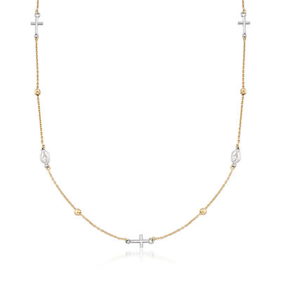Italian 18kt Two-Tone Religious Symbol Station Necklace, , default