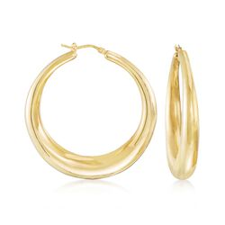 Italian 18kt Yellow Gold Large Graduated Hoop Earrings, , default