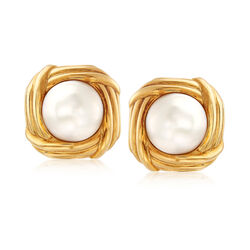 C. 1980 Vintage Tiffany Jewelry 15mm Cultured Mabe Pearl Clip-On Earrings in 18kt Yellow Gold  , , default