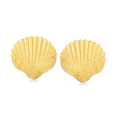 Italian 18kt Gold Over Sterling Sparkle Seashell Earrings
