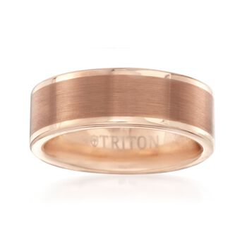 Men's 8mm Rose Tungsten Carbide Brushed Wedding Ring, , default