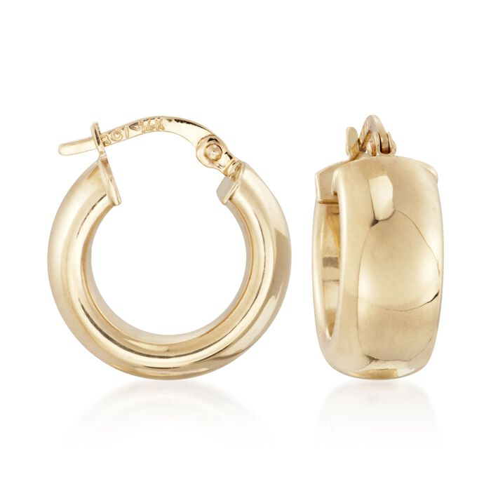14kt Yellow Gold Shiny Wide Hoop Earrings. 5/8""
