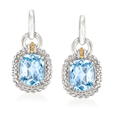 Phillip Gavriel. Image Featuring Blue Topaz Drop Earrings in Sterling Silver with 18kt Yellow Gold