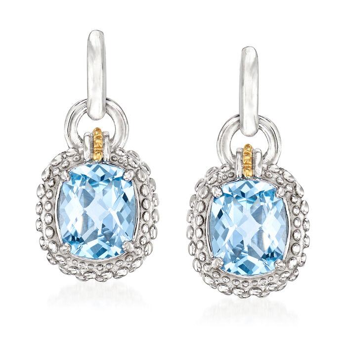 """Phillip Gavriel """"Popcorn"""" 6.00 ct. t.w. Blue Topaz Drop Earrings in Sterling Silver with 18kt Yellow Gold, , default"""