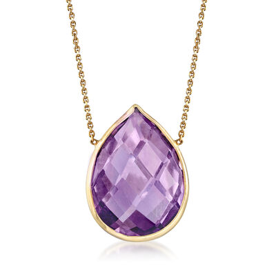 7.00 Carat Amethyst Necklace in 14kt Yellow Gold