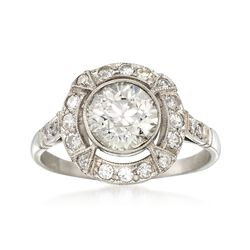 C. 1950 Vintage 1.74 ct. t.w. Bezel-Set Diamond Halo Ring in Platinum. Size 7, , default
