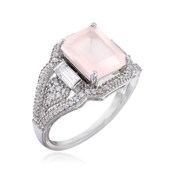 3.20 Carat Rose Quartz and .84 ct. t.w. White Topaz Ring in Sterling Silver, , default