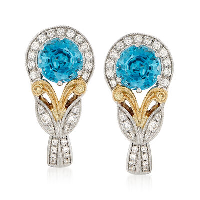 2.96 ct. t.w. Blue Zircon and .23 ct. t.w. Diamond Earrings in 18kt Two-Tone Gold
