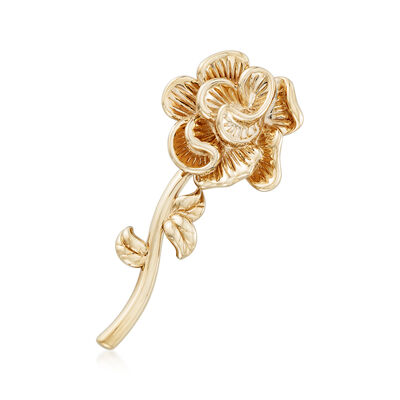 14kt Yellow Gold Rose Pin, , default