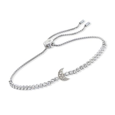 "Swarovski Crystal ""Subtle Moon"" Crystal Bolo Bracelet in Silvertone, , default"